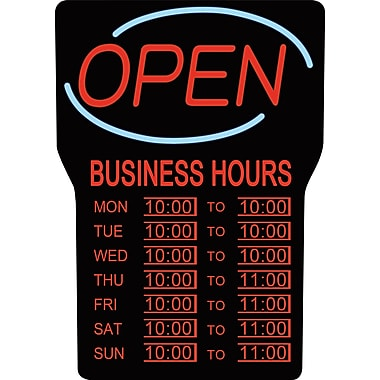 Royal Sovereign® LED Open Sign with Business Hours, English