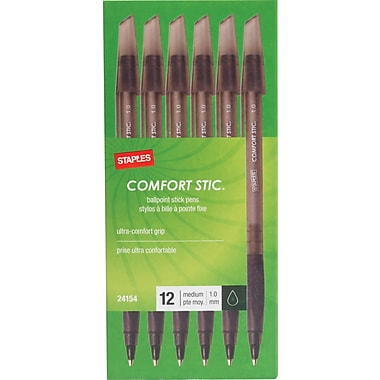 Staples® Comfort Stic Ballpoint Pens, 1.0mm, Black, 12/Pack