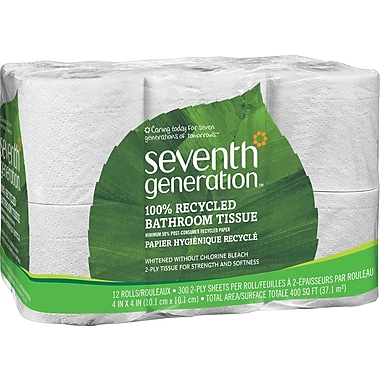 Seventh Generation® 100% Recycled Bath Tissue Rolls, 2-Ply, 12 Rolls/Case