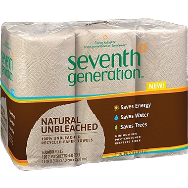 Seventh Generation™ Natural Unbleached 100% Recycled Paper Towel Rolls, 2-Ply, 11 x 9 Sheets, 120 Sheets/Roll, 6 Roll/Pk (13737)