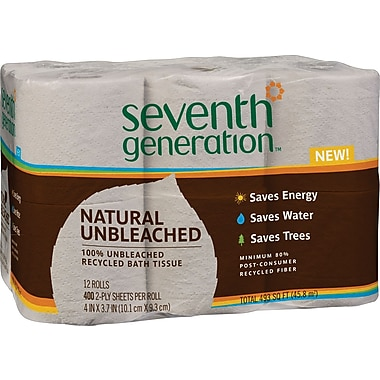 Seventh Generation® 100% Recycled Natural Bath Tissue, 2-Ply, 400 Sheet/Mega Roll, 12 Rolls/Pack