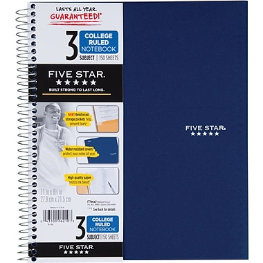 Mead® Five Star® Wirebound Notebook, 3-Subject, College Ruled, 8-1/2