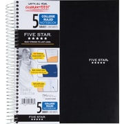 "Five Star® Wirebound Notebook, 5 Subject, College Ruled, 11"" x 8-1/2"", Black (72081)"