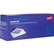 "Staples Security Tinted Gummed White Wove #10 Standard Business Envelopes,  4 1/8"" x 9 1/2"", White, 125/Box (276204/19261)"