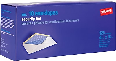 Staples Security Tinted Gummed White Wove #10 Standard Business Envelopes, 4 1/8