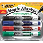 BIC® Magic Marker® Dry-Erase Markers, Tank Style, Black and Assorted Ink Colors, 4/Pack