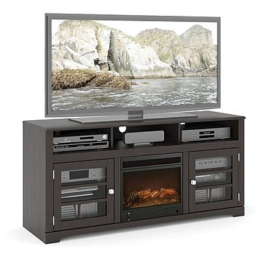 Sonax – Meuble pour téléviseur de la collection West Lake, avec foyer, 60 po, noir moka