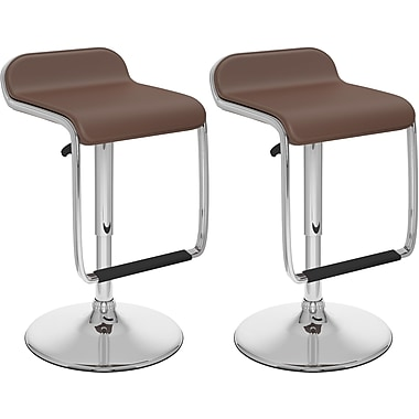 CorLiving Adjustable Bar Stools, with Footrest, Brown Leatherette, 2 per Set