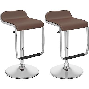 CorLiving – Tabourets de bar ajustables, avec repose-pieds, similicuir brun, 2/boîte