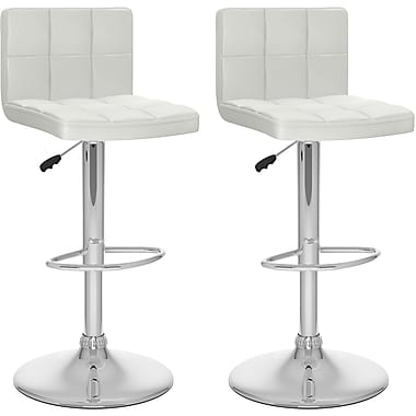 CorLiving High-Back Adjustable Bar Stools, White Leatherette, 2 per Set