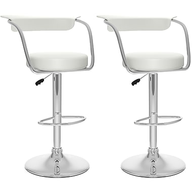 CorLiving – Tabourets de bar ajustables, similicuir blanc, 2/carton