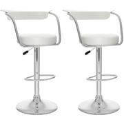 CorLiving – Tabourets de bar ajustables, similicuir blanc, 2/carton