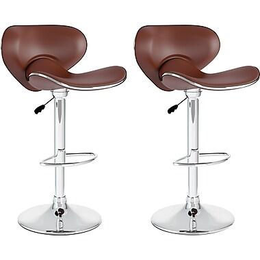 CorLiving Curved Form-Fitting Adjustable Bar Stools, Brown Leatherette, 2 per Set