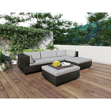 Sonax™ Park Terrace 5 Piece Double Armrest Sectional Patio Set, Textured Black
