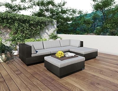 Sonax™ Park Terrace 5 Piece Double Armrest Sectional Patio Set, Textured Black