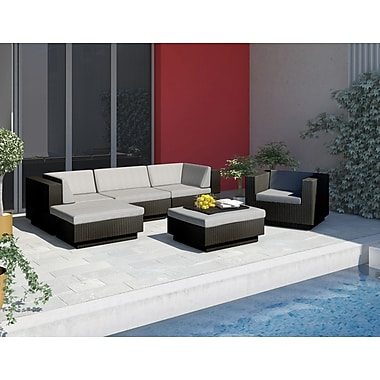 Sonax™ Park Terrace 6 Piece Double Armrest Sectional Patio Set, Textured Black