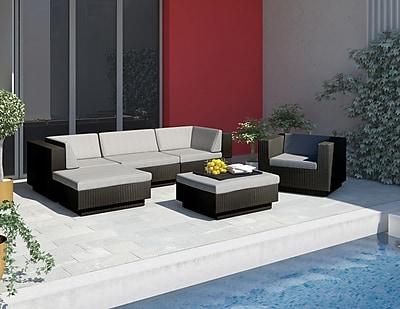 Sonax™ Park Terrace 6 Piece Double Armrest Sectional Patio Set, Textured Black