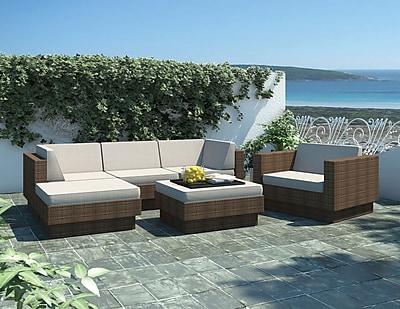 Sonax™ Park Terrace Saddle Strap 6 Piece Double Armrest Sectional Patio Set, Coral Sand
