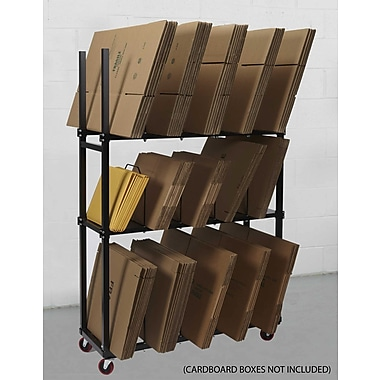 Calstone 3-Level Carton Stand with Casters, Black
