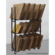 Calstone – Étagère à cartons de 3 niveaux avec roulettes, noir
