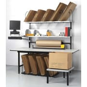 "Calstone Packing Station with Computer Mounts, 73"" - 80"" H. x 68"" W. x 33"" D., Black/Silver"