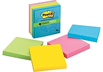 Post-it® Super Sticky Notes, 3' x 3', Assorted Colors, Evernote Collection, 4 Pads/Pack (654-4SSM-EV)