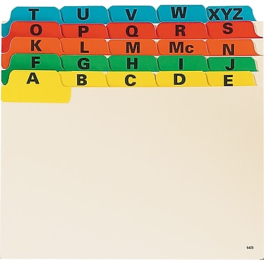 Oxford® Card Guides, Reinforced, A - Z, 6 x 4, Assorted, 25/Pack