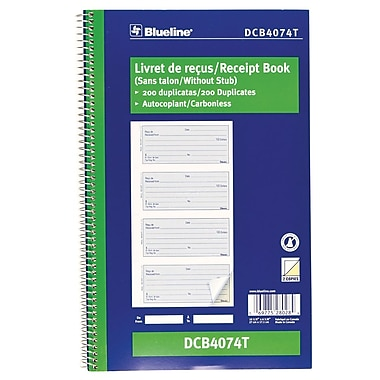 Blueline® Receipt Book, Bilingual, 200 Duplicates, 10 - 5/8