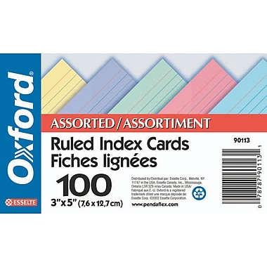 Oxford® Ruled Index Cards, 3 x 5, Assorted Colours, 100/Pack