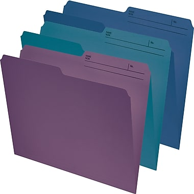Staples® File Folders, Legal, Assorted (Navy/Burgundy/Teal), 25/Pack