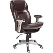 Serta Back in Motion Leather Executive Office Chair, Fixed Arms, Frye Chocolate (44187)