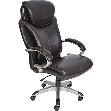 Serta Leather Computer and Desk Office Chair, Fixed Arms, Roasted Chestnut (43809)