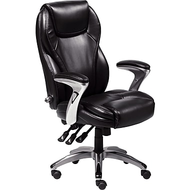 Delicieux Serta Ergo Leather Computer And Desk Office Chair, Fixed Arms, Black (43676)