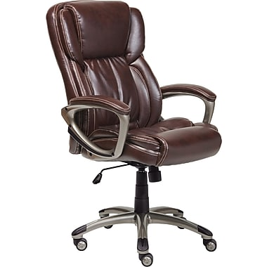 Serta Leather Computer And Desk Office Chair, Fixed Arms, Biscuit Brown  (43520)