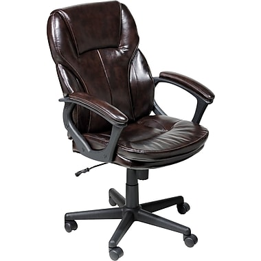 Serta Puresoft Leather Computer And Desk Office Chair, Fixed Arms, Roasted  Chestnut Brown (
