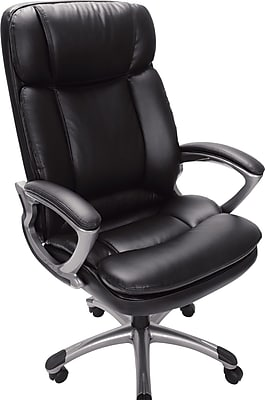Serta Big and Tall Executive Chair, Faux Leather, Black, Seat: 23''W x 18 3/4