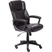 Serta Leather Computer And Desk Office Chair, Fixed Arms, Black (43672)