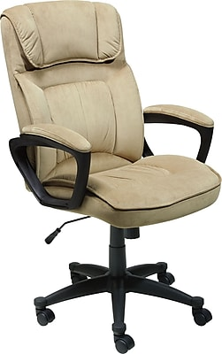 Serta Fabric Computer and Desk Office Chair, Fixed Arms, Light Beige (43670)