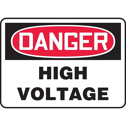 "Accuform Signs® 10"" x 14"" Vinyl Electrical Sign ""DANGER HIGH VOLTAGE"", Red/Black On White"