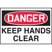 "Accuform Signs® 3 1/2"" x 5"" Adhesive Vinyl Safety Label ""DANGER KEEP.."", Red/Black On White, 5/Pack"