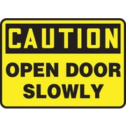 "Accuform Signs® 7"" x 10"" Plastic Safety Sign ""CAUTION OPEN DOOR SLOWLY"", Black On Yellow"