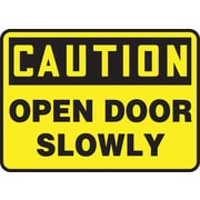 "Accuform Signs® 10"" x 14"" Plastic Safety Sign ""CAUTION OPEN DOOR SLOWLY"", Black On Yellow"