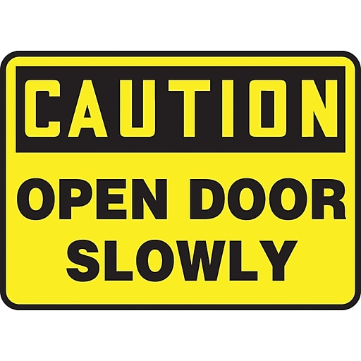 "Accuform Signs® 10"" x 14"" Vinyl Safety Sign ""CAUTION OPEN DOOR SLOWLY"", Black On Yellow"