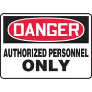 "Accuform Signs® 10"" x 14"" Plastic Safety Sign ""DANGER AUTHORIZED PERSONNEL.."", Red/Black On White"