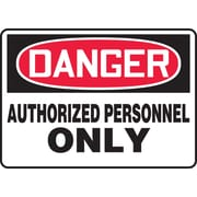 "Accuform Signs® 7"" x 10"" Plastic Safety Sign ""DANGER AUTHORIZED PERSONNEL.."", Red/Black On White"