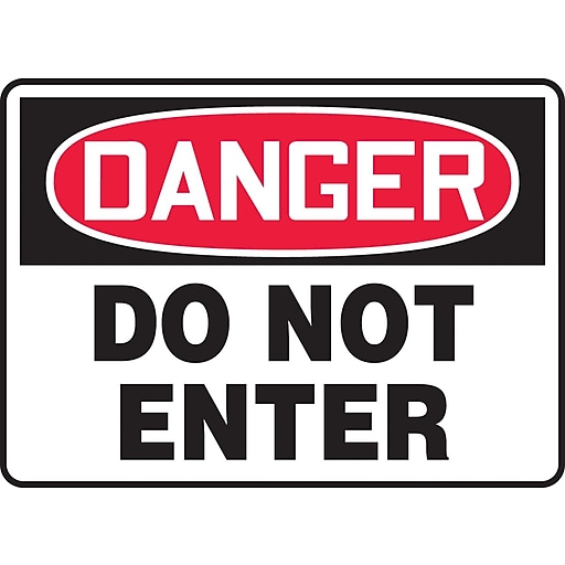 "Accuform Signs® 10"" x 14"" Aluminum Safety Sign ""DANGER DO NOT ENTER"", Red/Black On White"