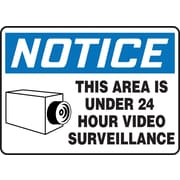"Accuform Signs® 7"" x 10"" Vinyl Safety Sign ""NOTICE THIS AREA IS..W/GRAPHIC"", Blue/Black On White"