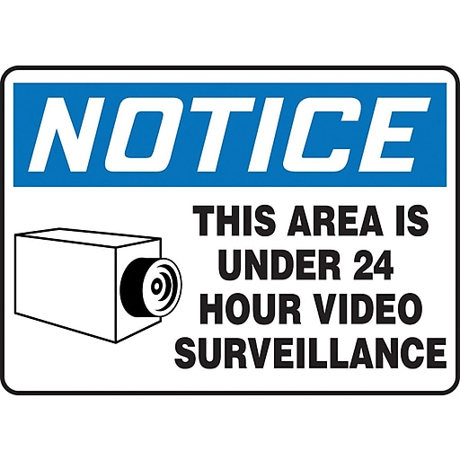 "Accuform Signs® 7"" x 10"" Aluminum Safety Sign ""NOTICE THIS AREA IS..W/GRAPHIC"", Blue/Black On White"