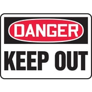 "Accuform Signs® 7"" x 10"" Plastic Safety Sign ""DANGER KEEP OUT"", Red/Black On White"
