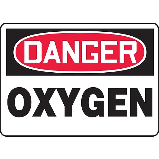 """Accuform Signs® 7"""" x 10"""" Aluminum Safety Sign """"DANGER OXYGEN"""", Red/Black On White"""